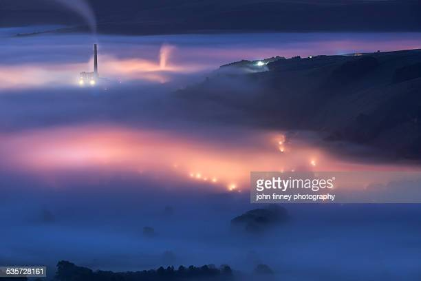 village in the fog, castleton peak district. - smurfs: the lost village stock pictures, royalty-free photos & images