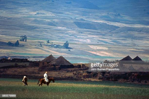 A village in the Great Rift Valley north of Addis Ababa in Ethiopia circa 1965