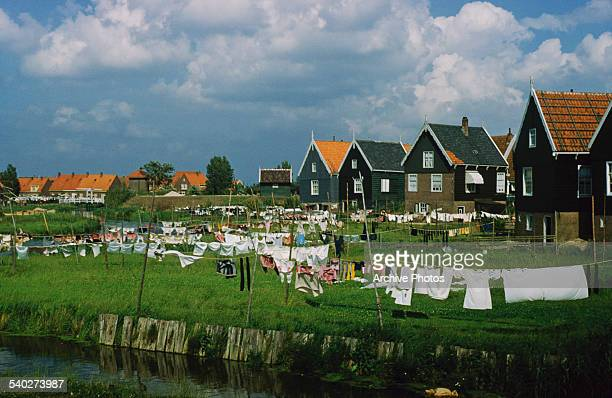 A village in the Netherlands possibly on the island of Marken circa 1965
