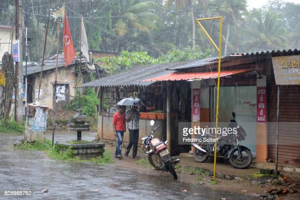 Village in the Western Ghats of Kerala during the monsoon season on july 19 2016 in India