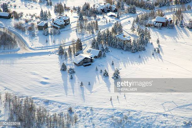 village in the winter - steamboat springs colorado stock photos and pictures