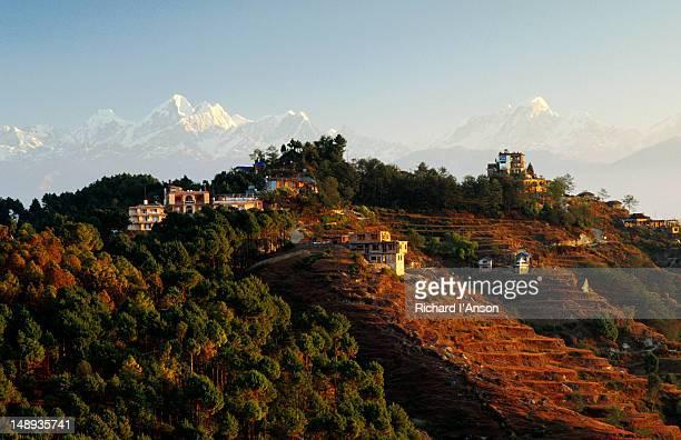Village & Langtang Himal at sunrise.