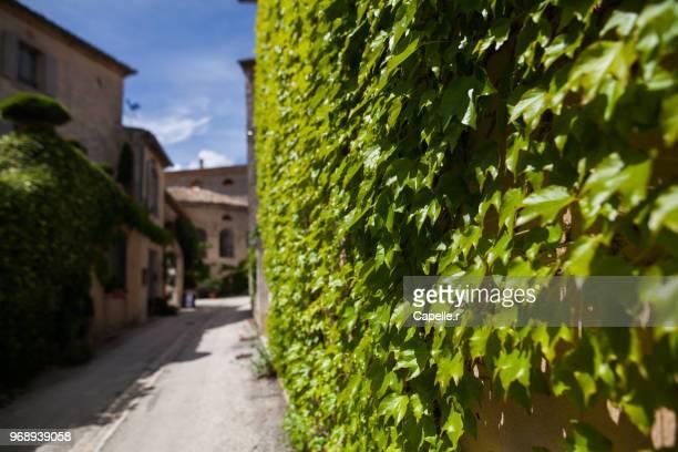 village - lussan au printemps - gard stock photos and pictures