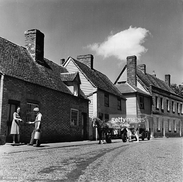 1949 Village milkman Mr Parker makes his deliveries by horse and cart in BradwellOnSea in Essex