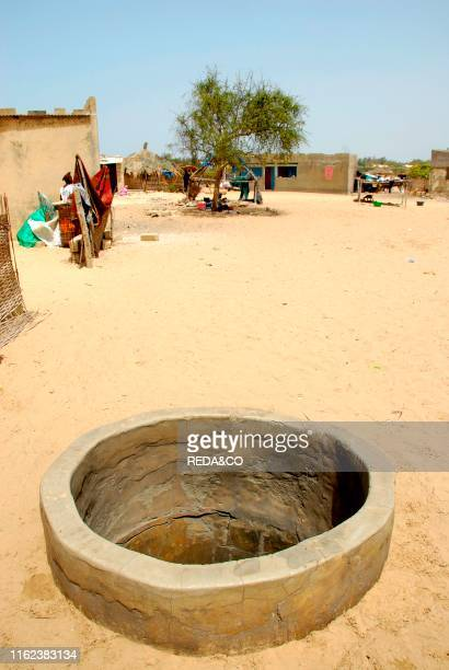 Village near lake Retba or Lac Rose. Republic of Senegal. Africa.