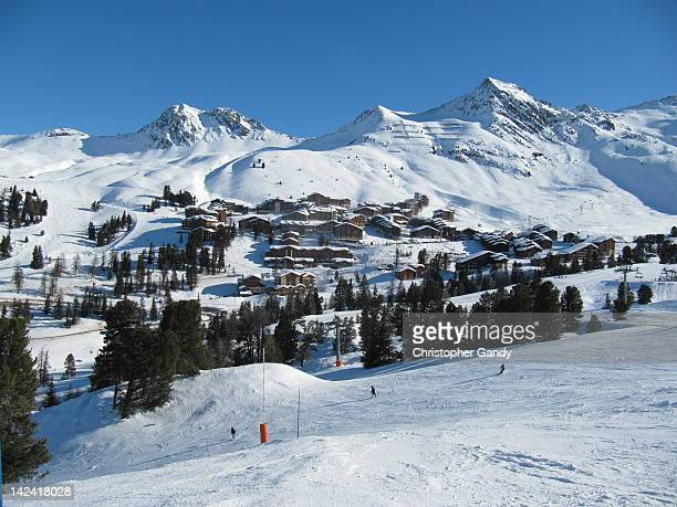 village of belle plagne - la plagne stock photos and pictures