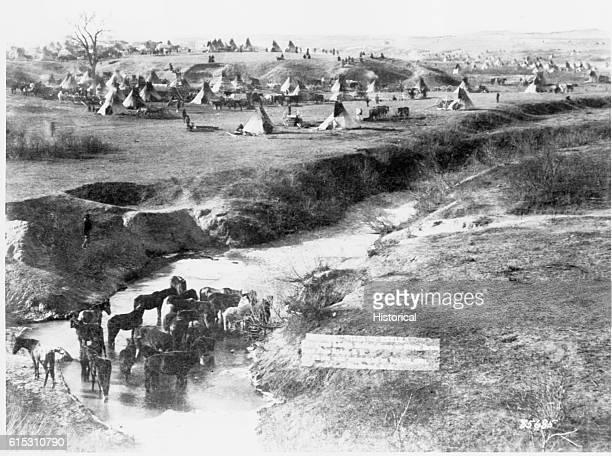 Village of Brule the great hostile Indian camp on River Brule near Pine Ridge South Dakota 1891 | Location near Pine Ridges South Dakota USA