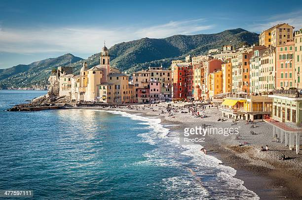 village of camogli, italy - genoa italy stock pictures, royalty-free photos & images