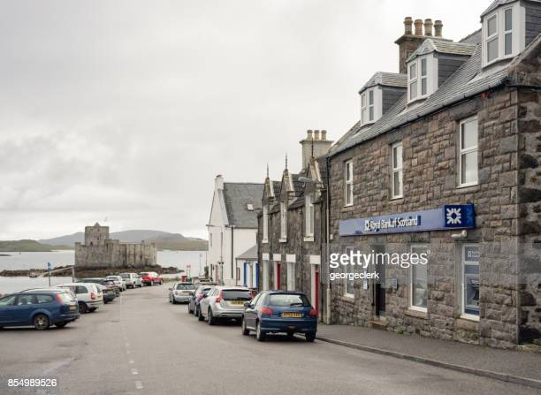 village of castlebay on the scottish isle of barra - barra scotland stock pictures, royalty-free photos & images
