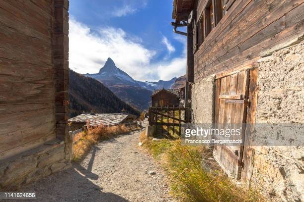Village of Findeln with Matterhorn in the background. Zermatt, Mattertal, Canton of Valais, Switzerland, Europe