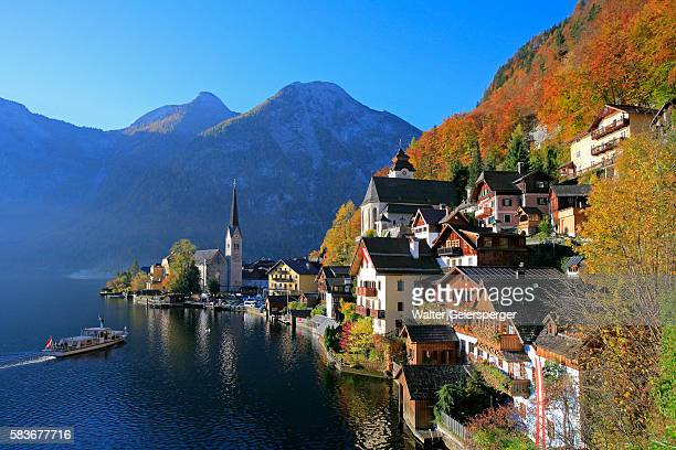 village of hallstatt in austria - 時計台 ストックフォトと画像