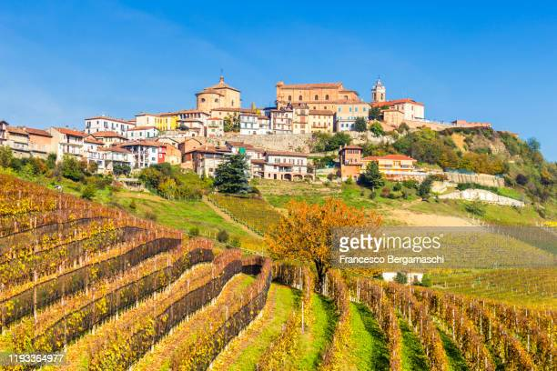 village of la morra with vineyards in the foreground. - italia ストックフォトと画像