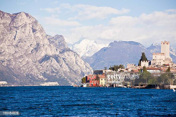 village of malcesine along garda lake in lombardia, italy - malcesine stock pictures, royalty-free photos & images