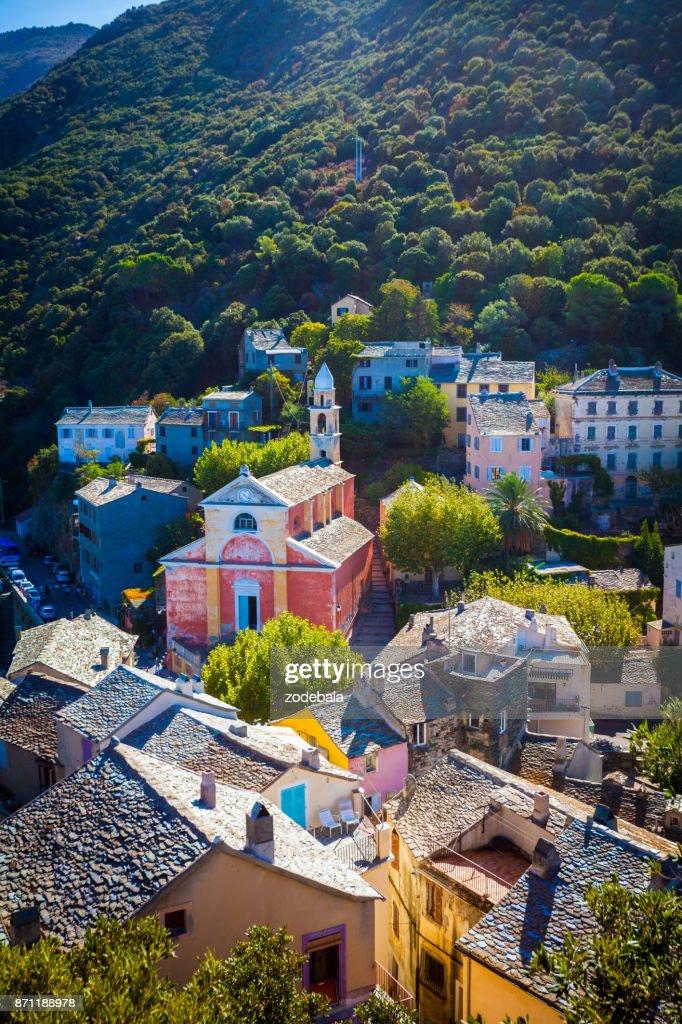 Village of Nonza in Corsica : Stock Photo