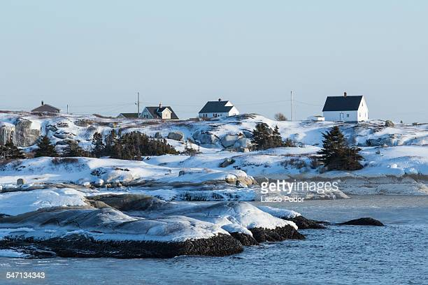 Village of Peggy's Cove in winter