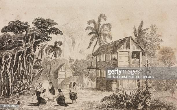 Village of Pitcairn Island Polynesia engraving by Danvin and Emile Lejeune from Oceanie ou Cinquieme partie du Monde Revue Geographique et...