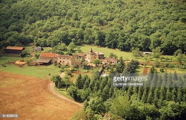 Village of Saint-Antonin-Noble-Val, France in valley