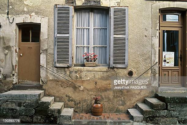 Village of SaintSauveur in Burgundy France typical steps going to house