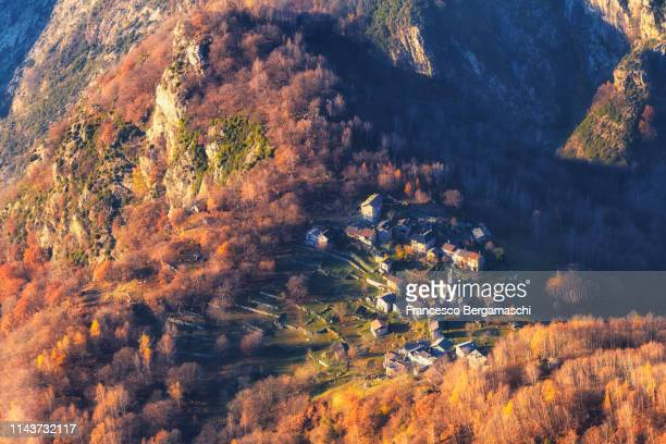 village of san giorgio fom above. valchiavenna, valtellina, lombardy, italy, europe. - lombardy stock pictures, royalty-free photos & images