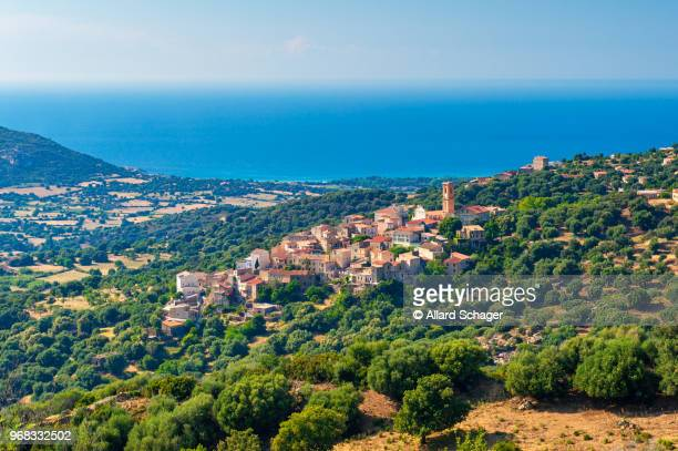 village of sant'antonino in corsica france - corsica stock-fotos und bilder