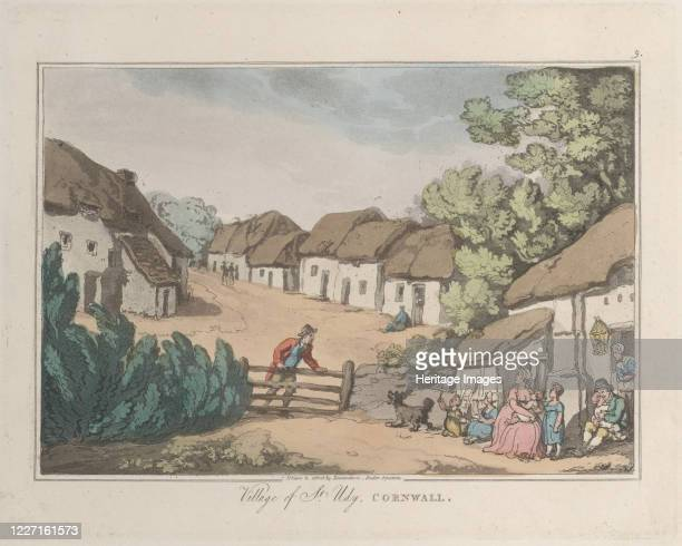 "Village of St. Udy, Cornwall, from ""Sketches from Nature"", 1822. Artist Thomas Rowlandson, Joseph Constantine Stadler."