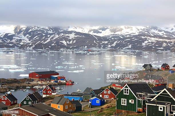 village of tasiilaq greenland - greenland stock pictures, royalty-free photos & images