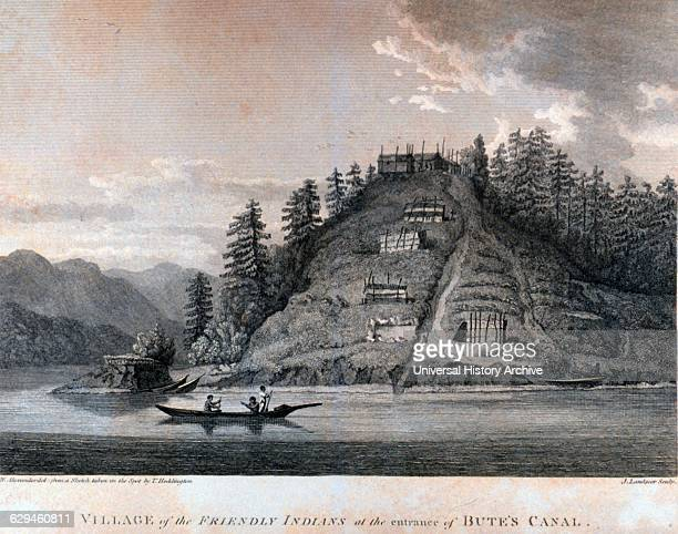 Village of the Friendly Indians at the entrance of Bute's Canal In 'A Voyage of Discovery to the North Pacific Ocean and Round the World' by Captain...