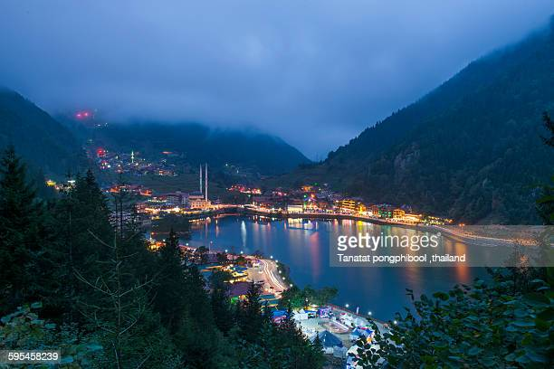 village of uzungol on uzungol lake in turkey - trabzon stock pictures, royalty-free photos & images