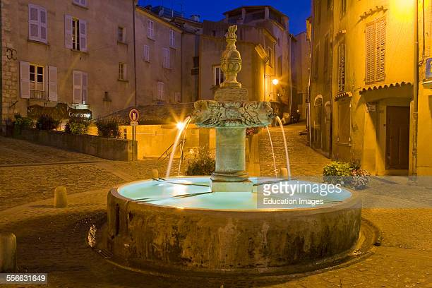 Village of Valensole Fountain Department 04 PACA or Provence Alpes Cote d'Azur Region South of France