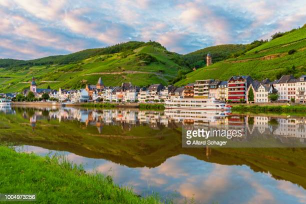 village of zell along mosel river in germany - moselle stock pictures, royalty-free photos & images