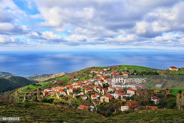 village on a hill facing the sea - emreturanphoto stock pictures, royalty-free photos & images