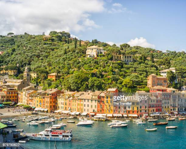 village on coastline, portofino, italy - portofino stock pictures, royalty-free photos & images