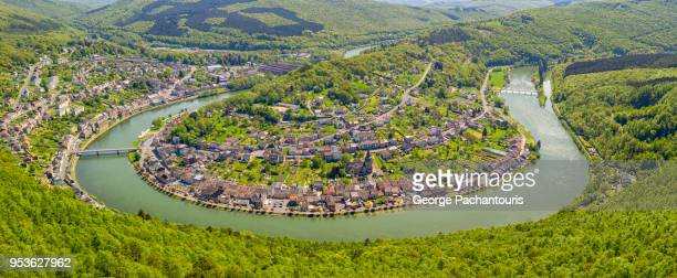 village on the river meuse in the ardennes - meuse river stock photos and pictures