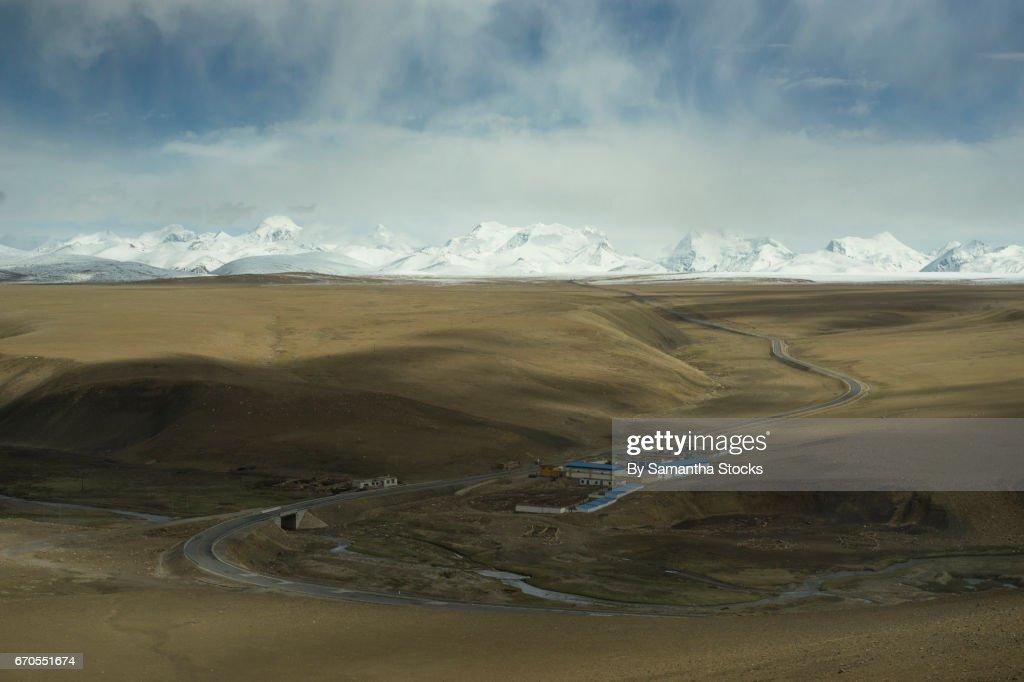 Village on the Tibetan Plateau : Stock Photo
