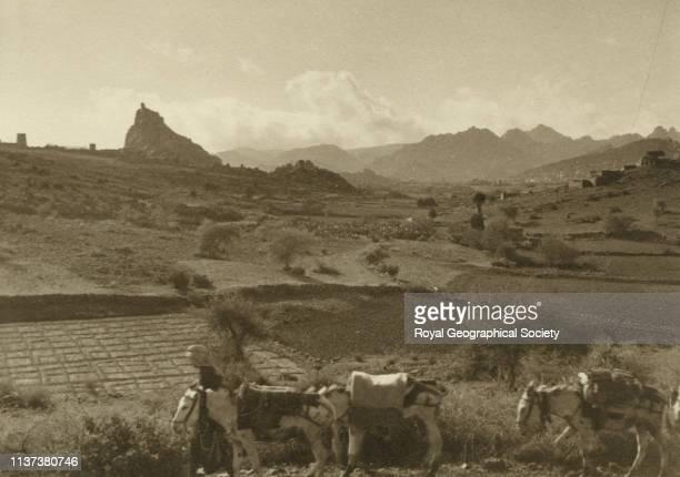 Village panorama number two mountains alTaif Hijaz Saudi Arabia Artist George Rendel