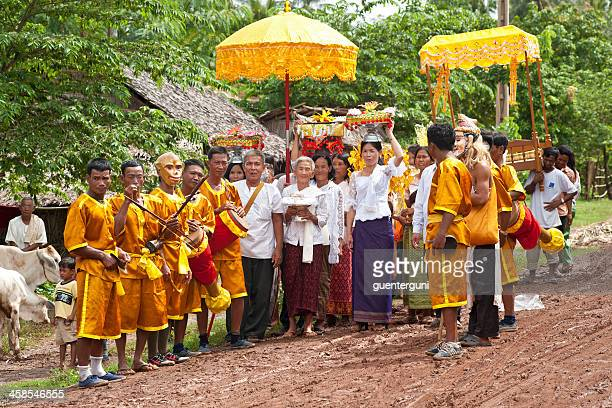 Village people are celebrating opening of buddhist temple