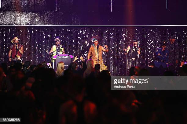 Village People perform onstage at the amfAR's 23rd Cinema Against AIDS Gala at Hotel du CapEdenRoc on May 19 2016 in Cap d'Antibes France