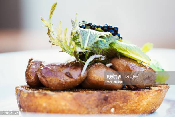 village public house menu dish. a plate with cooked meat, sliced and arranged on a slice of bread, with vegetable garnish.  - comida de pub - fotografias e filmes do acervo
