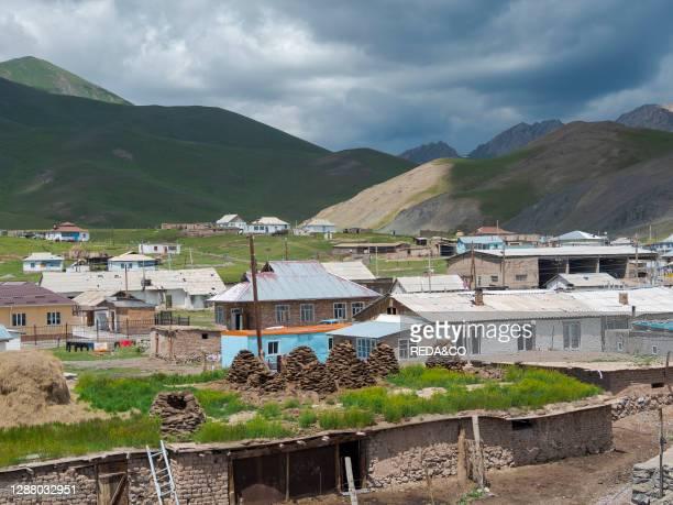 Village Sary Tasch in Alaj Valley. Part of Pamir mountain range. Asia. Central Asia. Kyrgyzstan.