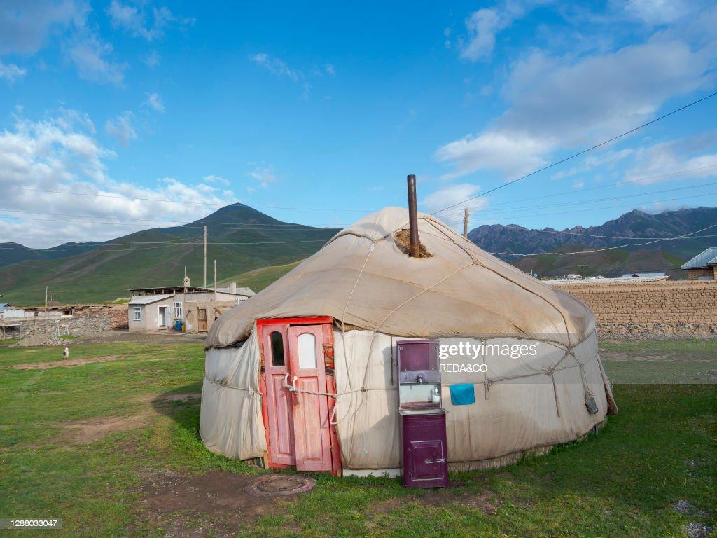 Village Sary Tasch in Alaj Valley. part of Pamir mountain range. Asia. Central Asia. Kyrgyzstan : News Photo