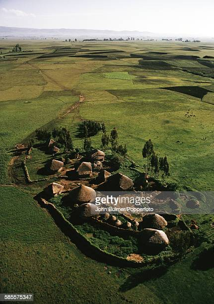 A village seen from the air near Addis Ababa in Ethiopia circa 1965