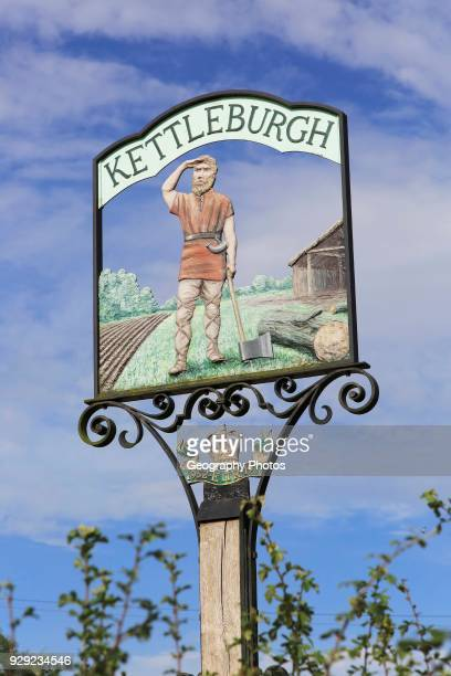 Village sign showing Saxon origins Kettleburgh Suffolk England UK