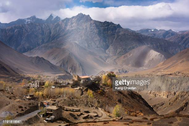 village view from muktinath, annapurna circuit trek, nepal - annapurna south stock pictures, royalty-free photos & images