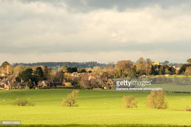 village view - northamptonshire stock photos and pictures