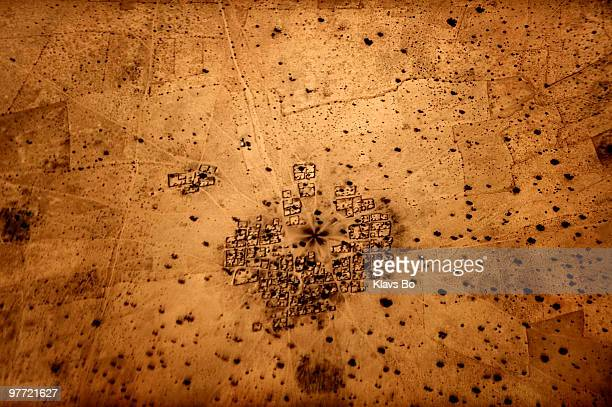 A village with a well to the north of the former capital city Zinder seen from a World Food Programme airplane in Niger In late autumn large areas of...