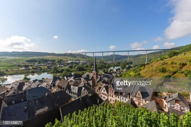 village with hochmoselbrücke (high moselle bridge) - germany/ rhineland-palatinate - moselle stock pictures, royalty-free photos & images