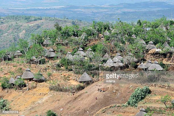 Village with traditional primitive huts in the Ethiopian Highlands Ethiopia East Africa