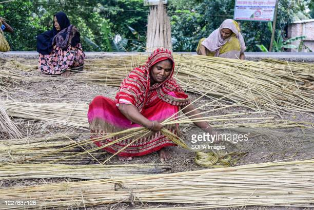 Village women are seen processing jute. Jute is Bangladesh's golden fiber and it plays a major role in the national economy. In Bangladesh, 80...