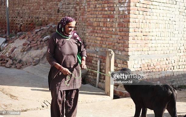 Village women with buffalo kid