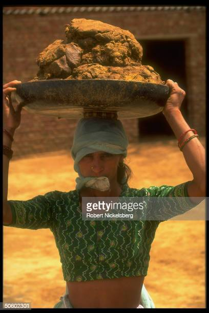 Villager carrying manure used to produce methane gas fuel for biogas stoves lighting in farming village benefiting fr govtfunded lowend technology